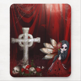 Mousepad with Goth Fairy, Cross, Skulls & Roses