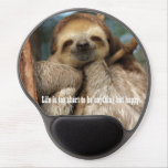 Mousepad with happy sloth<br><div class='desc'>A gel mousepad with a picture of a three-toed sloth sleeping in a tree.</div>