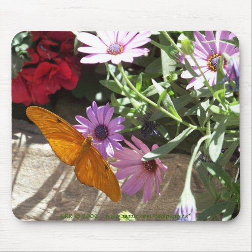 mousepad with orange butterfly and flowers