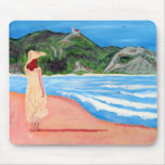 Mousepad with painting of lady on beach
