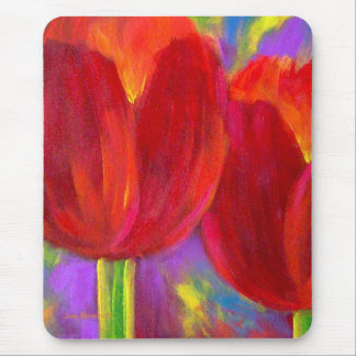 Mousepad with Red Tulips Flowers Painting Art