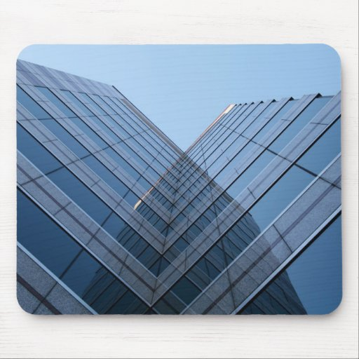 Mousepad with reflecting skyscraper