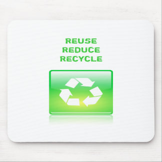 Mousepad with reuse, reduce & recycle design.