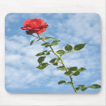 Mousepad with Single Red Rose