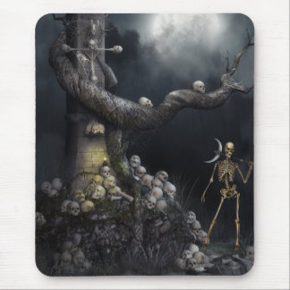 Mousepad with Skull Monument & Grim Reaper