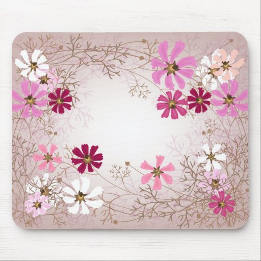 Mousepad  with tender floral background.