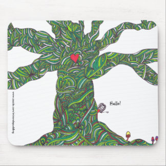 Mousepad with Tree and character 'hello'