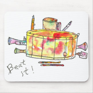 "Mousepad with watercolor drum that says ""BEAT IT""."