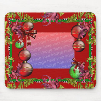"""Mousepad Xmas Vintage """"ADD Your Photo"""" Red"""