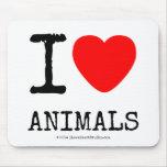 I Love Heart Animals Mousepads