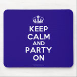 "Mousepads<br><div class=""desc"">Based on the original Keep Calm and ...  poster this cream and blue Keep Calm and Party On Mousepad features a custom designed font that matches the original closely.</div>"