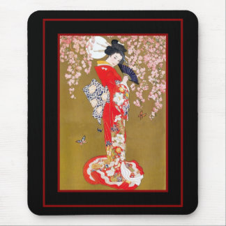 Mousepads Art Japanese Geisha Lady Vintage Poster