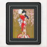 Mousepads Art Japanese Geisha Lady Vintage Poster Mouse Pad