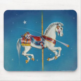 Mousepads - Red, White & Blue Carousel Horse
