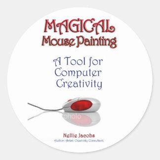 MousePainting™ mágico Pegatina Redonda