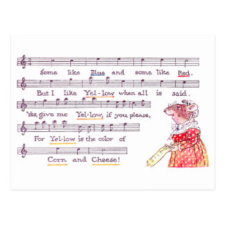 Mouse's Song in Praise of Yellow Cheese Postcard