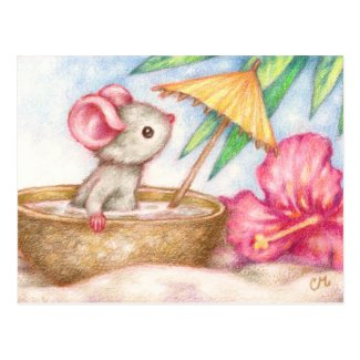 Mouse's Vacation - Cute Beach Art Postcard