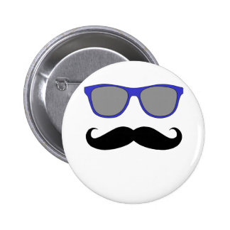 Moustache and Blue Sunglasses Humour 2 Inch Round Button