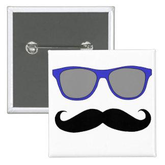 Moustache and Blue Sunglasses Humour 2 Inch Square Button