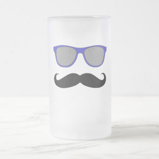 Moustache and Blue Sunglasses Humour Frosted Glass Beer Mug
