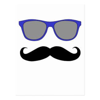 Moustache and Blue Sunglasses Humour Postcard