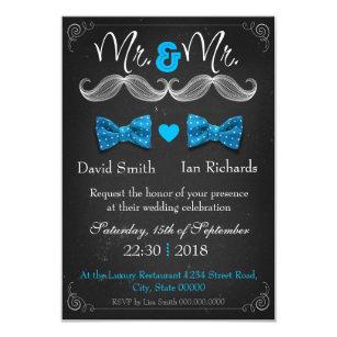 Civil union invitations zazzle moustache and bow for mr and mr invitation stopboris Choice Image