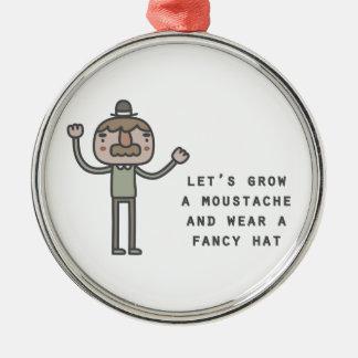 Moustache And Fancy Hat Metal Ornament