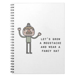 Moustache And Fancy Hat Spiral Notebook