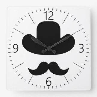 Moustache and hat square wall clock