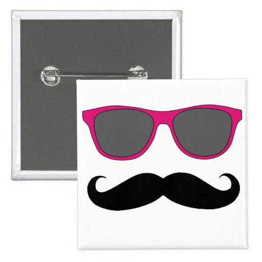 Moustache and Pink Sunglasses Humour Buttons