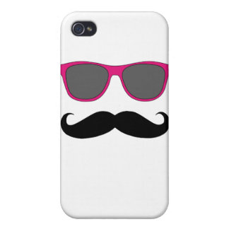 Moustache and Pink Sunglasses Humour iPhone 4 Case