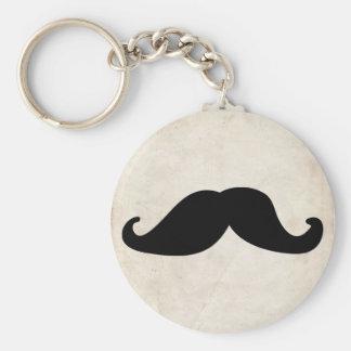 Moustache Basic Round Button Keychain