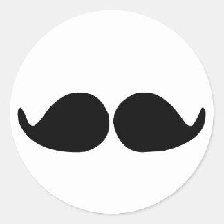 Moustache Classic Round Sticker