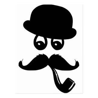 Moustache con ojos, pito y sombrero, postal