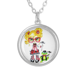 Moustache frog ragamuffin doll  Nechlace Silver Plated Necklace