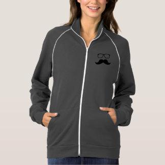 Moustache Glasses Nerd Hipster American Apparel Fleece Track Jacket