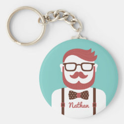 Iconic Cowboy Moustache Basic Button Keychain