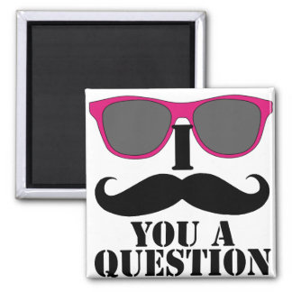 Moustache Humor with Pink Sunglasses 2 Inch Square Magnet
