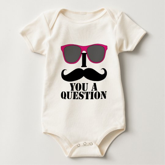Moustache Humor with Pink Sunglasses Baby Bodysuit