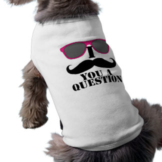 Moustache Humor with Pink Sunglasses Dog Tshirt