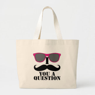 Moustache Humor with Pink Sunglasses Large Tote Bag