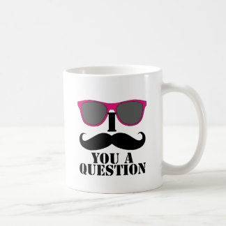 Moustache Humor with Pink Sunglasses Classic White Coffee Mug