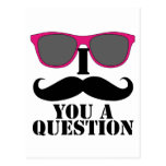 Moustache Humor with Pink Sunglasses Postcard