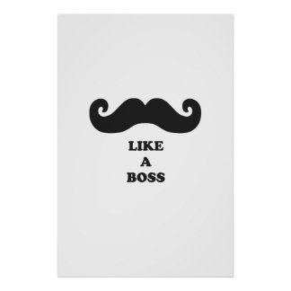 Moustache like a boss posters