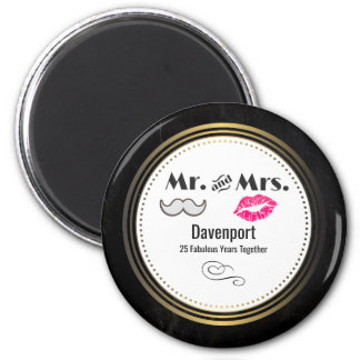 Moustache & Lips Mr. & Mrs. - Anniversary Magnet