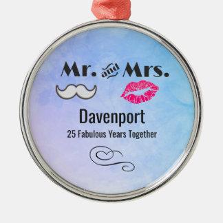 Moustache & Lips Mr. & Mrs. - Anniversary Metal Ornament