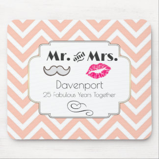 Moustache & Lips Mr. & Mrs. - Anniversary Mouse Pad