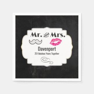 Moustache & Lips Mr. & Mrs. - Anniversary Paper Napkin