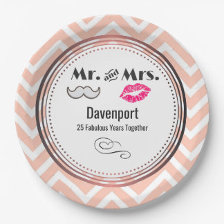 Moustache & Lips Mr. & Mrs. - Anniversary Paper Plate