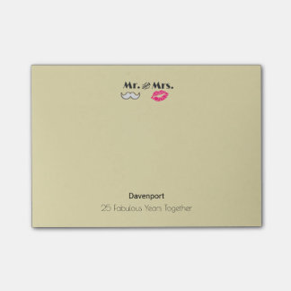 Moustache & Lips Mr. & Mrs. - Anniversary Post-it Notes